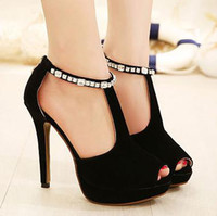 Wholesale 2014 New runway show fashion high heel rhinestone sandals with chain stiletto heels peep toe lady princess dress shoes ePacket