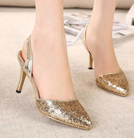 Women Stiletto Heel PU 2014 New glitter pointed toe slingback silver gold sandals stiletto heels wedding bridemaid prom dress shoes ePacket free shipping