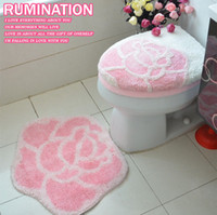 Pink,Lavender Overcoat Toilet Case Synthetic Hair Rose thick toilet set piece set toilet set toilet seats toilet cover set pad