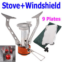 Wholesale Travel Set Portable Stainless Steel Gas Stove for Camping Picnic Plates Fold Stove WindShield Screen