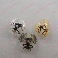 Wholesale 1000PCS Filigree Bead Caps End mm three leaf design spacer bulk Gold Silver Antique Bronze Plated Brass DIY