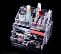 Wholesale luxurious Fashion Clear Acrylic Crystal Cosmetic Organizer Makeup Case Holder Storage Box drop shipping