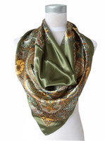 Wholesale 2013 New Arrival Popular Accessories cm Army Green Satin Square Silk Scarf New Design Women Polyester Silk Scarf Printed