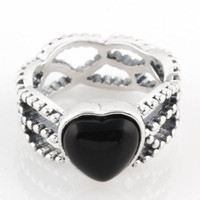 Cheap Authentic 925 Sterling Silver Ring Black CZ Love Heart Charm Rings Jewelry For Party RIP040 Compatible with European Thread Pandora