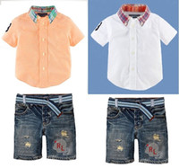 Wholesale 2014 New Boys Brand 2pieces sets shirt+ shorts baby...