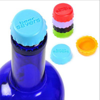 beer cap lot - 60pcs New idea silicone bottle cap wine cap Silicone Beer Wine Savers bag mix color