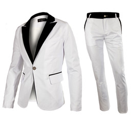 Wholesale Hot Fashion Mens Suits contains Jacket pant Western Style Outwear Leisure White Suit Blazer Tuxedo High Quality