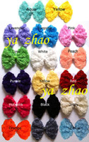 Wholesale Trial order Large chiffon roseflower bows hair rosette flower bows in bows mix color