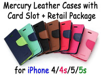 Wholesale Mercury Fancy Diary Leather Case with Money Credit Card Slot Holder PU Leather colors For iphone S S C with retail box