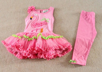 Wholesale Rare Girls Clothing Set Pink Flamingo Bow Dot Lace Tutu Dress amp leggings Tights Suits Kids Flaming Summer Outfit Sets Party Dress C2071