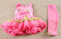 Wholesale EMS New Arrive Rare Lovely Pink Flamingo Bow Dot Lace Tutu Dress Leggings Set Kids Flaming Summer Outfit Sets Girls Party Dress C2071