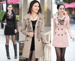 Wholesale HOT Womens Lady Double Breasted Long Trench Coats Scarf Coat Outwear Elegant coat US Size