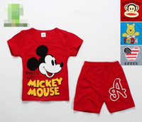 Wholesale 2014 Summer New Cartoon Mouse Minnie Winnie Pooh Cute Mouth Monkey Set Child Kid Tee Tshirt Shorts Casual Outfit Red Blue Gray D2628