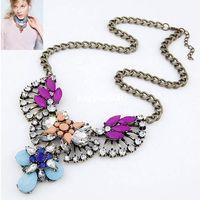 Wholesale 5 colors summer fashion big star fan of luxury dazzling gem drop rhinestone necklace choker jewelry statement necklace