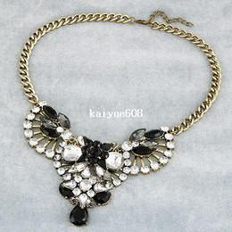 Wholesale summer fashion big star fan of luxury dazzling gem drop rhinestone necklace choker jewelry statement necklace