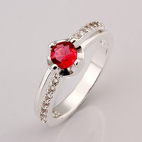 Wholesale New Products Silver Fashion Natural Red Zircon Rings Gift NEW Diamond Rings Jewelry