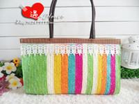 Wholesale 2014 new straw shoulder bags with lace Bohemian bags Summer Charming Bow Bohemian Beach bags Handwork Straw Woven handbags Womens handbags