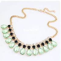 Women's western rhinestone jewelry - 3 color new fashion Western elegant design gorgeous Rhinestone drop gem choker necklace high quality women jewelry