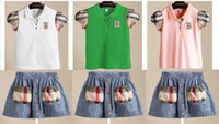 Girl Summer Brand sets 2pcs set T- shirt+ skirt girls short sl...