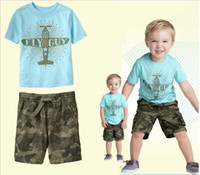 Boy Summer Short wholesale 2014 new summer kids boys blue lovely pattern T-shirt + Camouflage pants hot sell Outfits & Sets YM-310
