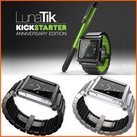Yes Metal For iPod Nano LUNATIK LYNK Metal Watch Band Wrist Strap Case For iPod Nano 6 MP3 Player No Stylus Pen Multi-touch Sport Armband Black Green Silver