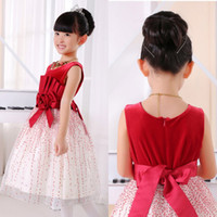 Wholesale BH New Spring And Summer Red Girl Princess Dress Velvet Hand Made Flower Tea length Flower Girl Dress With Bow In Back