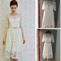 Wholesale 2014 New Arrival Beautiful Short Wedding Dresses Scoop Knee Length Zipper Short Sleeve Lace Dresses