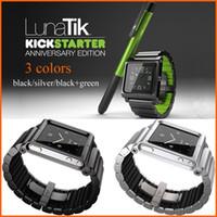 Yes Metal For iPod Nano LUNATIK LYNK Metal Watch Band Wrist Strap For iPod Nano 6 MP3 Player No Stylus Pen Multi-touch Sports Armband Black Green Silver