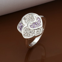 Wholesale Sparkly Women s Rings Silver Fashion Colorful Diamond Zircon Flower Rings Size