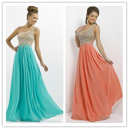 Wholesale 2014 Prom Girl Princess Peacock Formal Gowns One Shoulder Bling Beads Empire Waists Floor Length Chiffon Formal Long Dresses Party Gowns