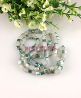 Crystal green white jade - 4MM Cube Crystal Glass Beads White Jade With Half Green Coating Straight Hole Square Jewelry Beads For