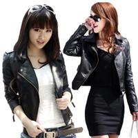 Fashion black leather motorcycle jacket - S5Q Vintage Women Slim Biker Motorcycle PU Soft Leather Zipper Jacket Coat Black AAADAU