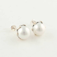 Silver authentic indian jewelry - ER023 suitable for pandora charm Fashion Authentic Sterling Silver Hoop Earrings with round pearl Earring Jewelry