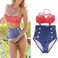 vintage swimwear - S5Q Retro Swimsuit Swimwear Vintage Push Up Bandeau High Waisted Bikini Set AAADAR