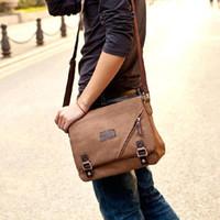 Wholesale S5Q Men s Vintage Canvas Briefcase Shoulder Messenger Travel Hiking Bag Satchel AAADAG