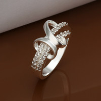 Wholesale Popular Zircon Rings Jewelry Silver Fashion Sparkly Zircon diamond Wedding Rings