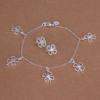 Wholesale sterling silver clover bracelet Earing Set S148 gift box bag free