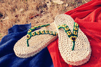 Wholesale 2014 New Summer Casual Straw Braid Slipper Flip Flops Sandals Handmade Male Corn Husks Green Slipper Fashion Shoes Green Belt