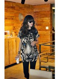 Wholesale Plus Size Women T shirt Tiger Printing O neck Sleeveless Women Tops Summer
