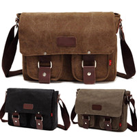 Wholesale S5Q Men s Vintage Canvas School Satchel Military Laptop Shoulder Messenger Bag AAADBY