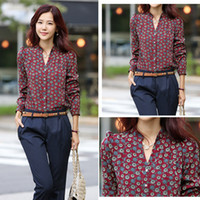 Wholesale New Hot Sell Fashion Women Chiffon Retro Totem Printed Sexy Slim Stand Collar Button Shirt Women Tops NZ_C001