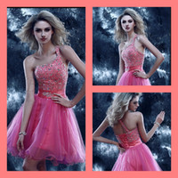 Cheap Reference Images A Line Homecoming Dresses Best Tulle One-Shoulder Sequins Homecoming Gowns