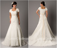 Wholesale Custom Made A Line Wedding Dresses Bridal Gown Square Lace Applique Short Sleeves Modest Zipper Back Chapel Train Ribbon Sash Classy