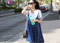 Regular Summer A-Line 2014 Wholesale - 2in1 T-shirt+dress summer fashion maternity chiffon dresses wear tops cotton clothes Pregnant clothing one piece