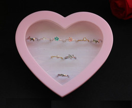 Wholesale 3pcs Love Pink Heart holes Grils Rings Earrings Display Box Wedding Party Gift Holder White Lining Fashion Jewelry Box Displaying Case