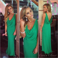 cheap green Jersey Formal prom dresses Crew Ruffle Mermaid F...