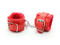 Wrist & Ankle Cuffs adult hobbies - Basic style red fur lined comfortable wrist cuff and ankle cuff BDSM gear for hobby fetish gear sex toy adult novelty freeshipping