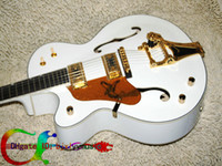 Wholesale Custom Left Handed Guitar white Electric Guitar withBigsby hollow body jazz Guitar