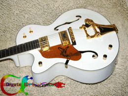 Custom Left Handed Guitar white 6120 Electric Guitar withBigsby hollow body jazz Guitar Free Shipping
