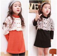 Wholesale 2014 New Fashion Spring Autumn Fall Baby Girl Child Kids Pieces Lace Smock Long Sleeve Cotton Orange Black Dress